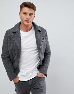 Серая байкерская куртка из шерсти Armani Exchange - Серый