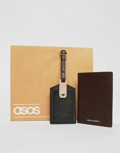 Кожаная багажная бирка и обложка для паспорта в стиле колор блок ASOS DESIGN - Черный