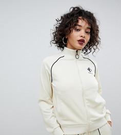 Спортивная куртка в рубчик с логотипом на груди и контрастной отделкой Fila - Белый