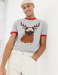 Новогодняя футболка с мопсом в костюме оленя ASOS DESIGN - Серый