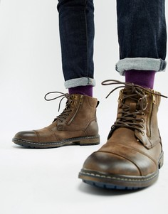 Коричневые ботинки из искусственной кожи с молнией River Island - Коричневый