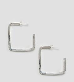 Серебристые квадратные серьги-кольца Made - Серебряный