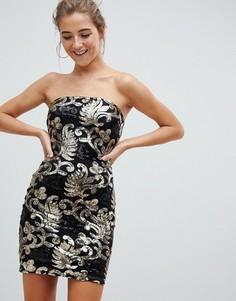 Платье из парчи с открытыми плечами и пайетками Parisian - Черный