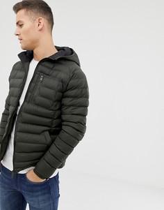 Легкая дутая куртка с капюшоном Threadbare - Зеленый