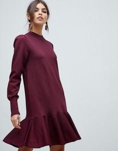 Трикотажное платье с оборкой и блестками Y.A.S - Красный