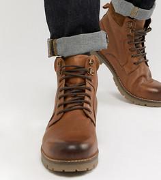 Светло-коричневые кожаные ботинки на шнуровке ASOS DESIGN - Рыжий