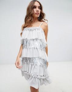 Платье мини с контрастной отделкой Lost Ink - Серый