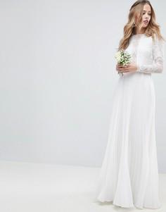 Платье макси с кружевным лифом, длинными рукавами и плиссированной юбкой ASOS EDITION - Кремовый