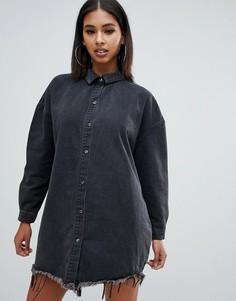 Джинсовое платье-рубашка бойфренда в стиле oversize черного выбеленного цвета Missguided - Черный