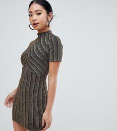 Платье мини в золотистую полоску ASOS DESIGN Petite - Золотой