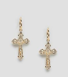 Серьги-кольца с подвеской-крестом Rock N Rose - Золотой
