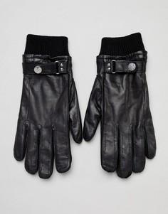 Черные кожаные перчатки с шерстяной подкладкой и манжетами в рубчик PS Paul Smith - Черный