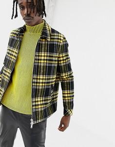 Желтая куртка на молнии в клетку ASOS DESIGN - Желтый