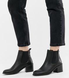Кожаные ботинки челси на каблуке для широкой стопы Depp - Черный