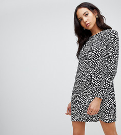 Платье-рубашка с длинными рукавами и анималистичным принтом Glamorous Tall - Черный
