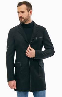 Черное пальто на пуговицах с содержанием шерсти Karl Lagerfeld