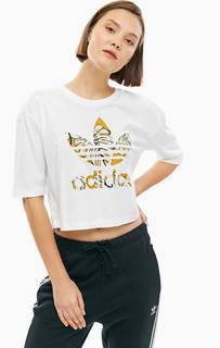 Укороченная хлопковая футболка оверсайз Adidas Originals