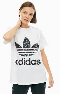 Хлопковая футболка оверсайз с логотипом бренда Adidas Originals