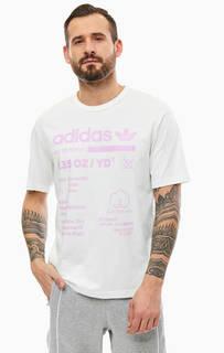 Хлопковая футболка с контрастным принтом Adidas Originals