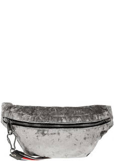 Бархатная поясная сумка серого цвета Tommy Jeans