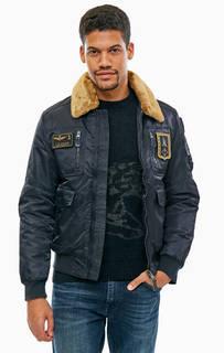 Синяя куртка на молнии с карманами Aeronautica Militare