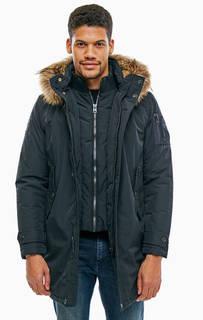 Длинная зимняя куртка с меховой отделкой Aeronautica Militare