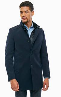 Синее демисезонное пальто с карманами Cinque