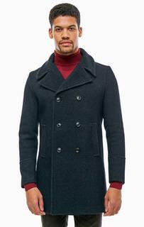 Демисезонное двубортное пальто синего цвета Cinque