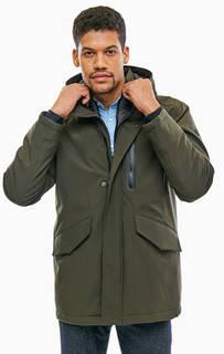 Демисезонная куртка цвета хаки со съемной ветрозащитной планкой Cinque