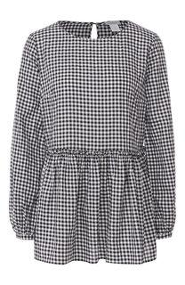 Хлопковая блуза в клетку Van Laack
