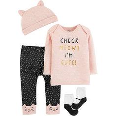 Копмлект: Футболка с динным рукавом, брюки, шапочка и носки Carters для девочки