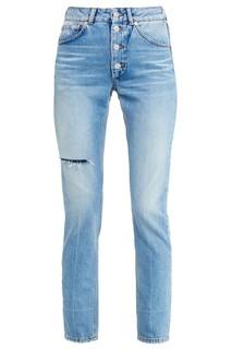 Голубые выбеленные джинсы с прорезью Balenciaga
