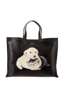 Черная сумка с принтом Balenciaga