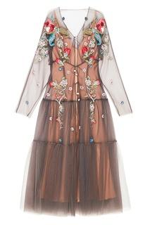 Длинное платье с цветами Alena Akhmadullina