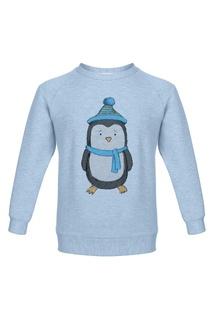 Голубой свитшот с пингвином Lisa&Leo