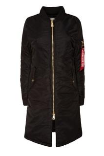 Удлиненная черная куртка Alpha Industries