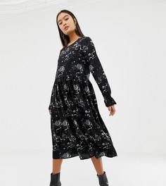 Расклешенное платье миди с плиссировкой и принтом Glamorous - Черный