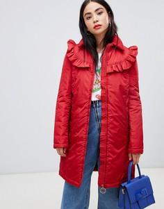 Пальто с оборкой и фирменным кольцом-подвеской на молнии Love Moschino - Красный