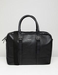 Черная кожаная сумка сэтчел с двумя ремешками ASOS DESIGN - Черный
