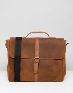 Светло-коричневая кожаная сумка сэтчел с ремешком спереди ASOS DESIGN - Рыжий