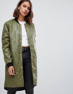 Удлиненная стеганая куртка-бомбер Minimum - Зеленый