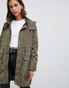 Свободное пальто в стиле милитари Minimum - Зеленый