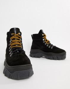 Черные высокие замшевые кроссовки на толстой подошве Bronx - Черный