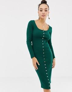 Зеленое облегающее платье миди на кнопках Missguided - Зеленый