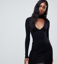 Облегающее платье мини с глубоким вырезом ASOS DESIGN Tall - Черный