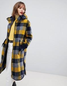 Желтое пальто в клетку с капюшоном Esprit - Мульти