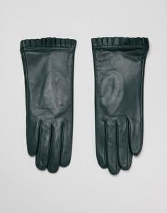 Кожаные перчатки с плиссировкой Barneys Originals - Зеленый