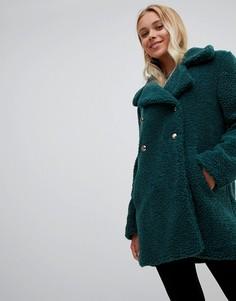 Двубортное пальто из искусственного меха QED London - Зеленый