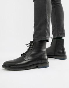 Кожаные ботинки со вставкой на носке KG by Kurt Geiger - Черный