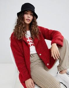 Флисовое oversize-пальто Daisy Street - Красный